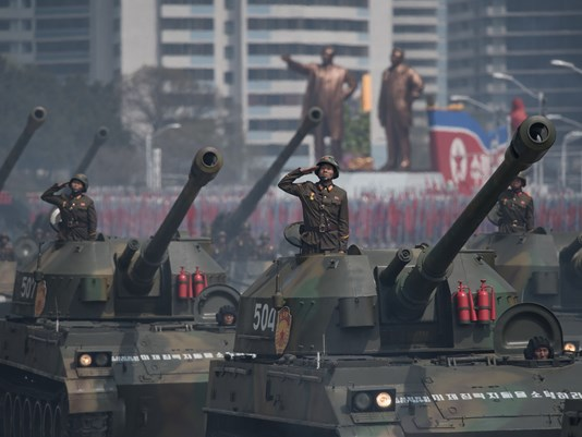 Pictured above are some of the military vehicles that were driving through Pyongyang for the world to see.