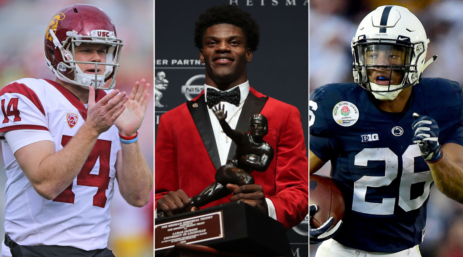 Sam Darnold (left), Lamar Jackson (middle), and Saquon Barkley (right), all hope to get their team to the top of the polls.