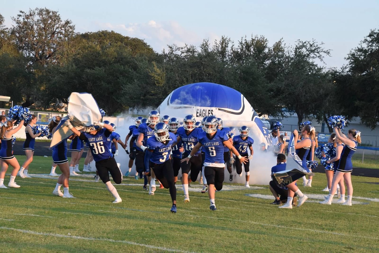 Eagles take the field before a 17-16 win against Pinellas Park.