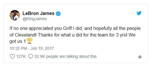 The departure of GM David Griffin did not sit well with James.