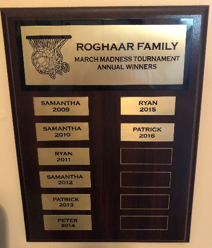 Pictured is my family's March Madness plaque.