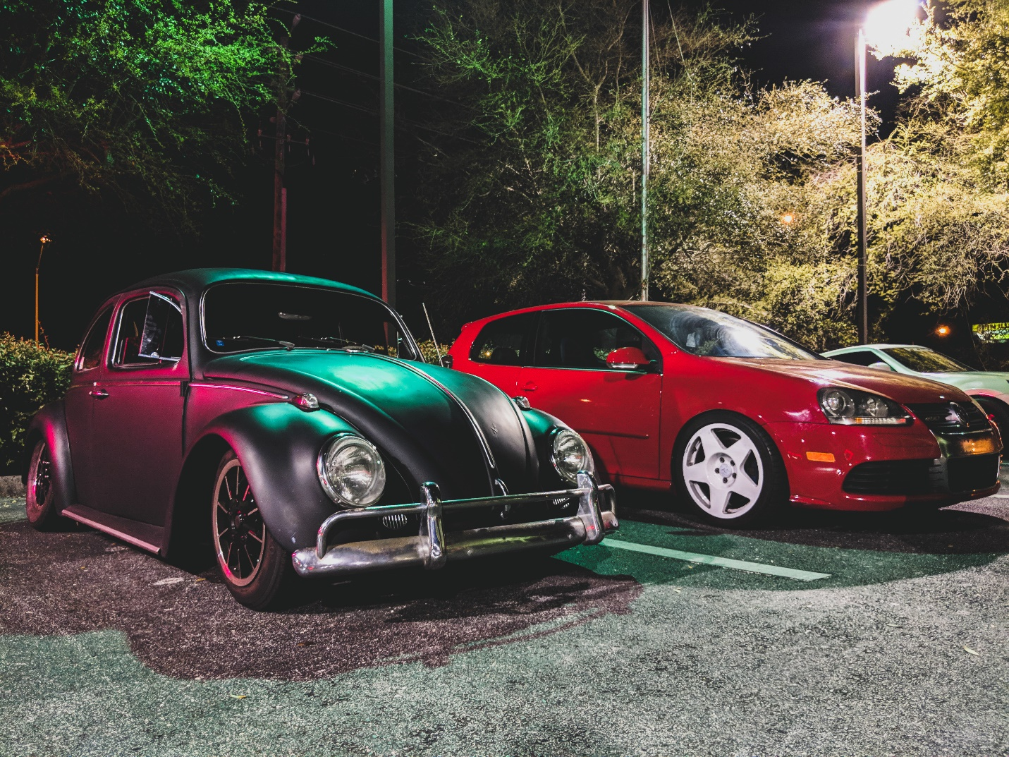 Classic VW meets a newer version.
