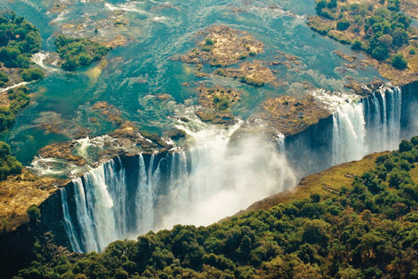 The Victoria Falls are truly breathtaking, lying on the border between Zimbabwe and Zambia.