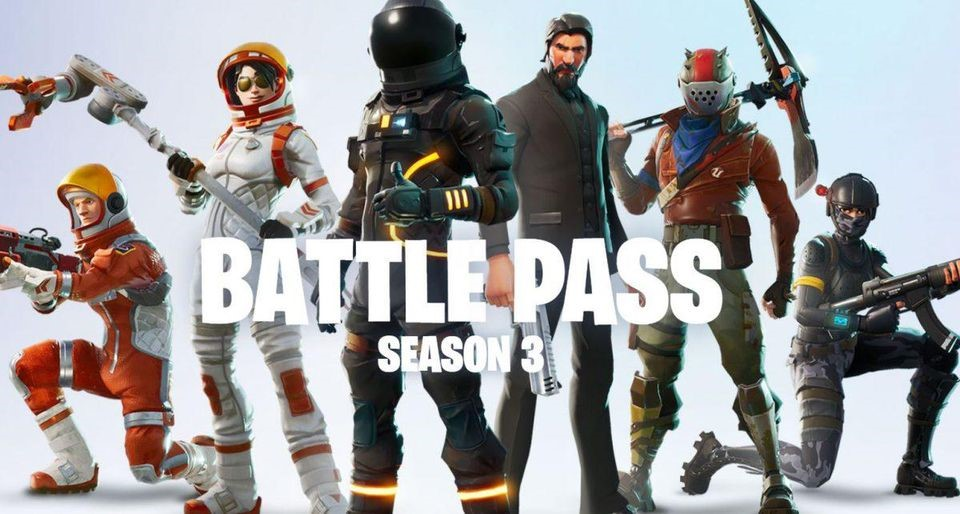 Picture showing the skins that were included in the season 3 battle pass, with Dark Voyager on the middle left and John Wick on the middle right.