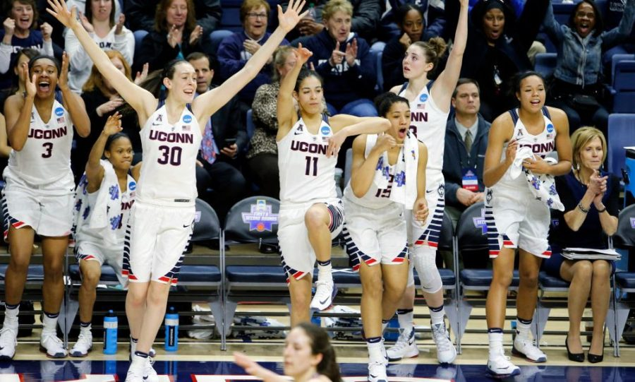 UCONN+women+celebrate+a+big+play%2C+and+hopefully+a+bright+future.