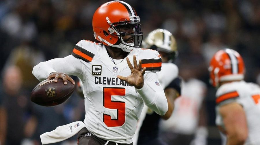 1Tyrod Taylor has started over Baker Mayfield to start off the season. https://www.si.com/nfl/2018/09/16/browns-vs-saints-tyrod-taylor-michael-thomas