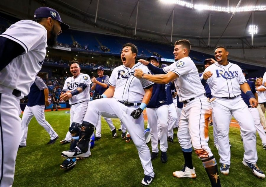 The Rays celebrate their ninth and final walk off win of the 2018 season on September 10th versus the Cleveland Indians.