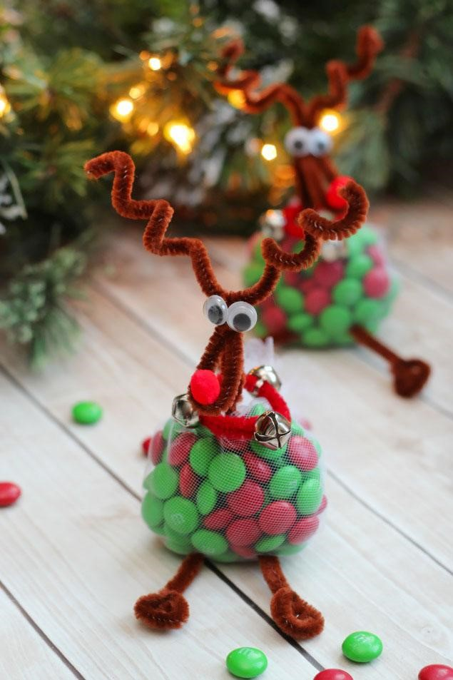 These reindeer are so cute you might not want to open them to eat the M and M's.
