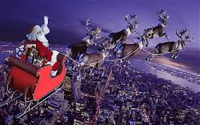 It's very tempting for a kid to hitch a ride on Santa's sleigh.