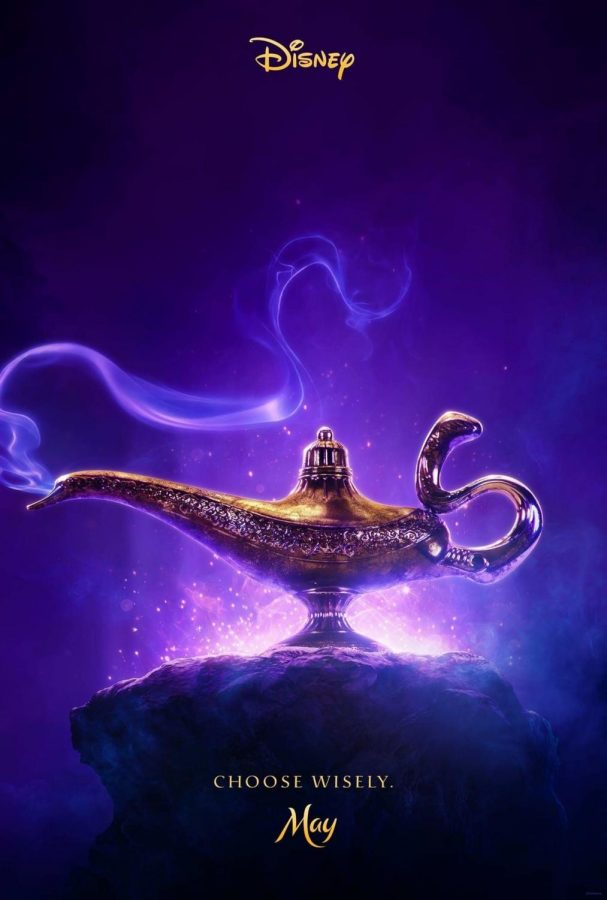 The+poster+for+Aladdin+featuring+the+famous+genie+lamp.