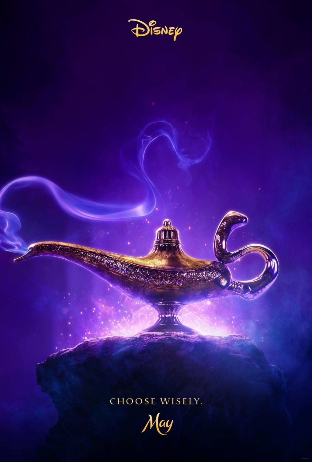 The poster for Aladdin featuring the famous genie lamp.