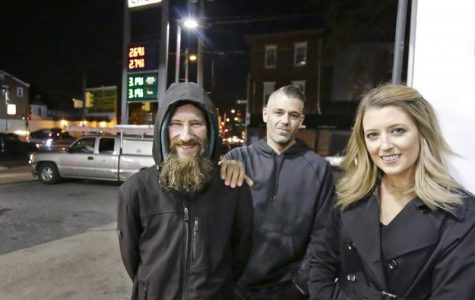 Kate McClure and Mark D'Amico, and the homeless man, Johnny Bobbitt Jr pictured.
