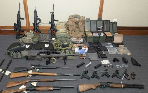 Shown here is the weapon stash seized from the lieutenant's house.