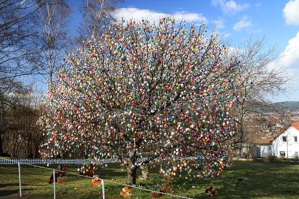 This is an example of one of the extravagant and colorfully decorated Easter trees in Germany. Photo provided by wikipedia.org
