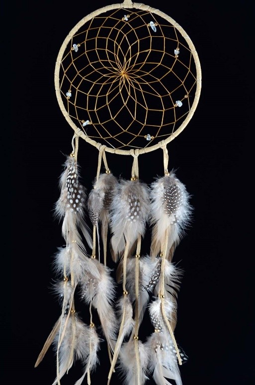 A dreamcatcher, used by Native Americans to protect infants, scare away bad dreams, and catch good ones for the sleeper below.