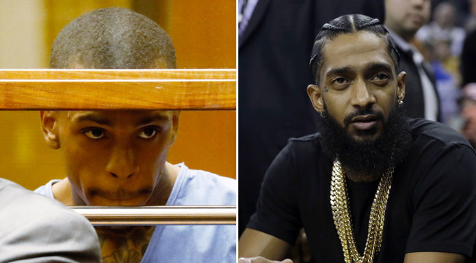 Nipsey Hussle (right) and Eric Holder the alleged killer (left)