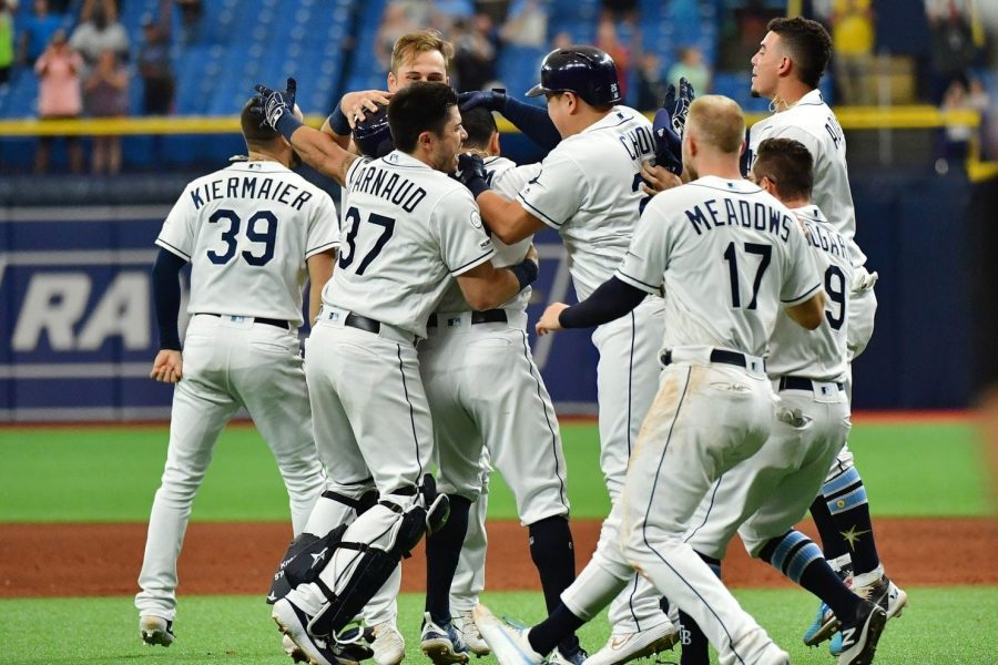 The Rays celebrate Tommy Pham's walk off hit versus Baltimore on September 2nd.