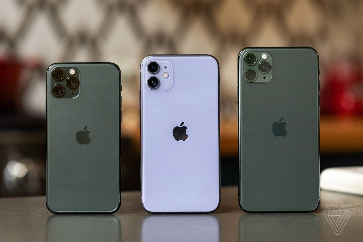 These are the new IPhone 11 pro (left), IPhone 11 (middle), and IPhone 11 Pro Max (right)
