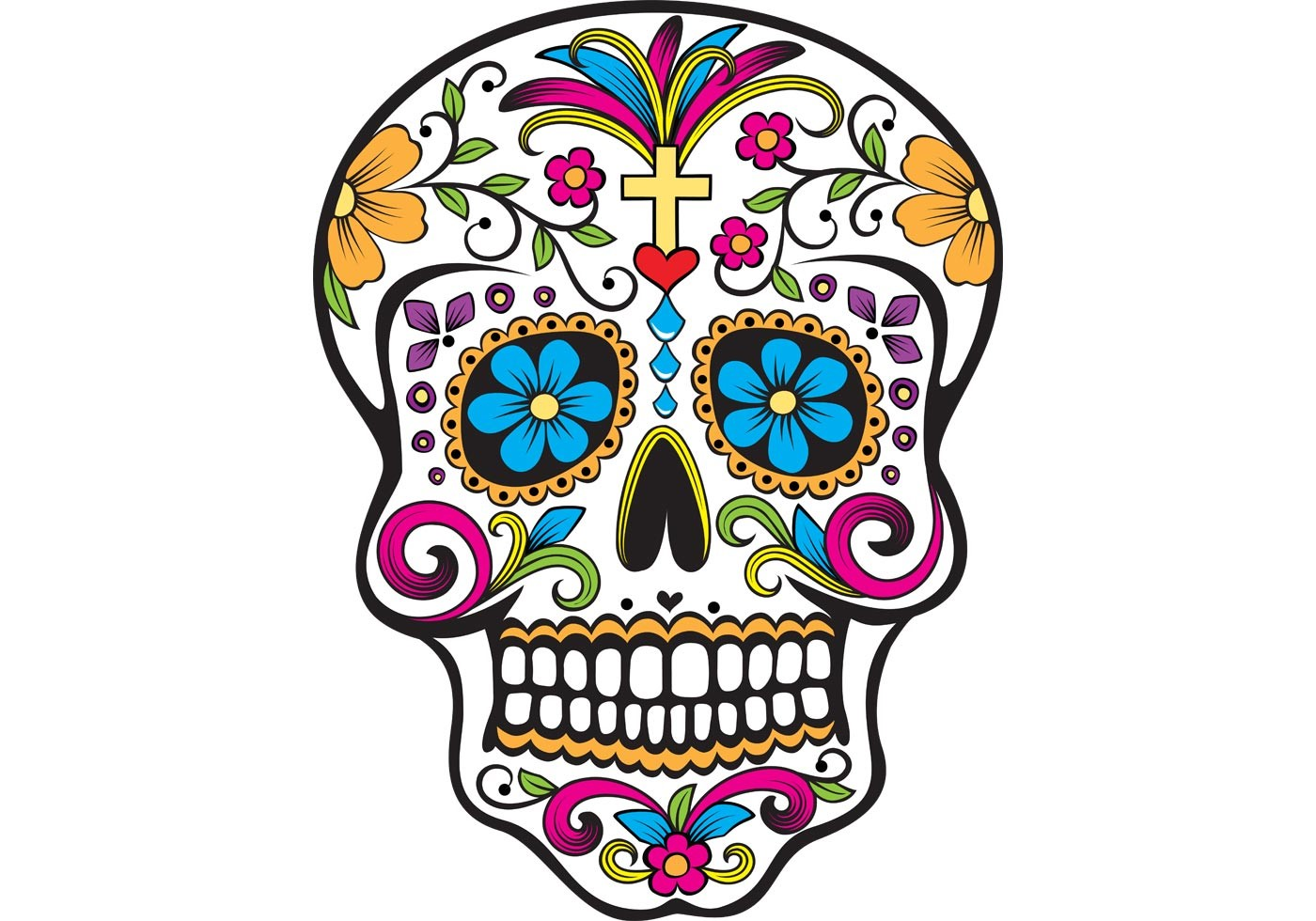 An example of some skulls used to decorate during the holiday.