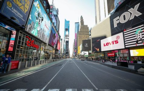 Times Square in New York City left deserted by the coronavirus.