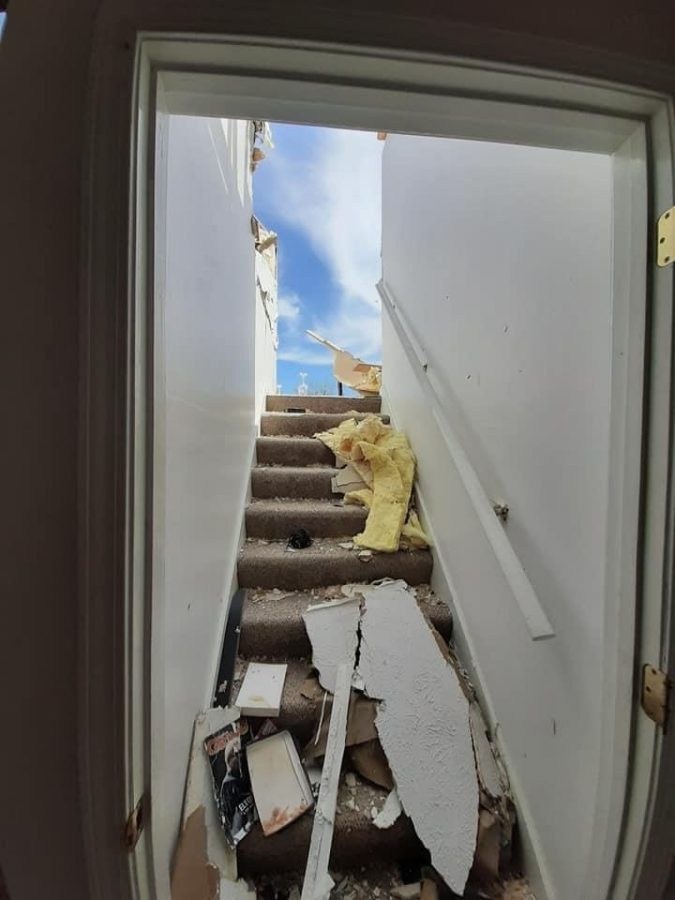 Isabella's uncle provided this picture of the damage done to his home.