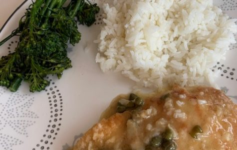 Chicken picatta with broccolini and rice was a Mother's Day hit.