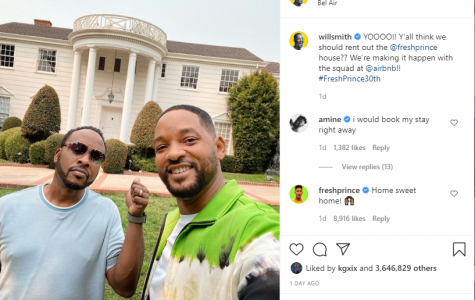 The image shows Will Smith's most recent Instagram post in which he states he is putting the mansion on the Airbnb website.