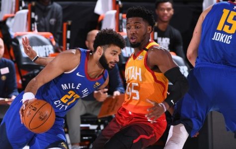 Murray is guarded by Donovan Mitchell in Game 4 of their series, in which both scored 50 points, respectively. Photo from NBA.com