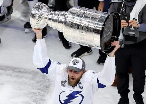 Lightning captain Steven Stamkos lifts the Stanley Cup for the first time in his 12-year career.