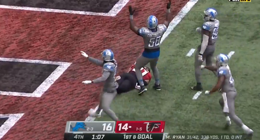 Lions celebrating the other team's touchdown.