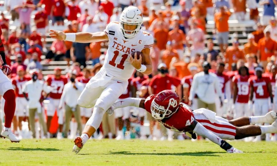 The Texas Longhorn vs the Oklahoma Sooners game is called the Red River Rivalry, it is also referred to as the Red River Showdown and the Red River Shootout.