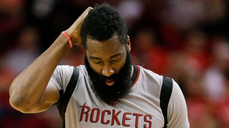 James Harden is clearly upset.