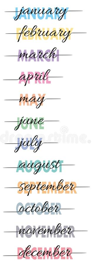 The months of the year.