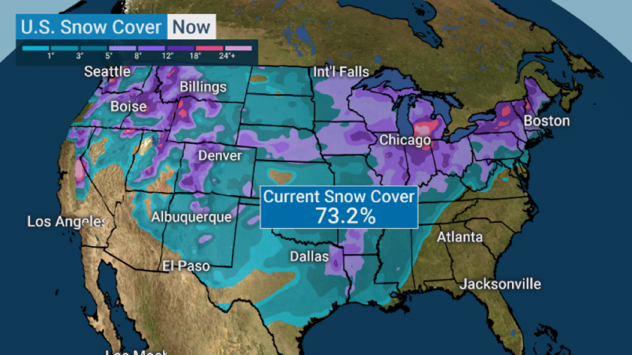 On Tuesday, 73.2% of the country was covered in snow, none in Florida of course.