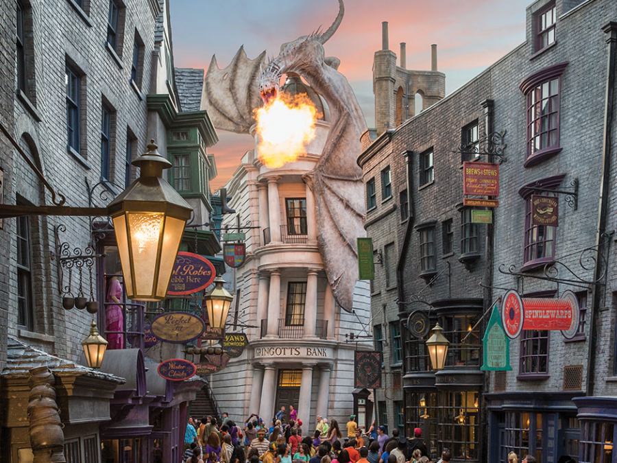 Inside the world of Harry Potter in Universal Studios situated in Orlando, Florida. A very realistic replica of Diagon Alley from the very well-known Harry Potter movies.