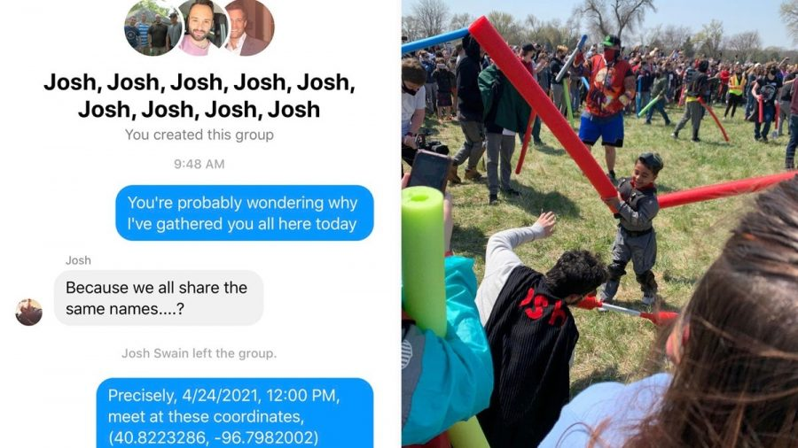 The+Josh+Battle+initial+Facebook+message+and+pool+noodle+war.+