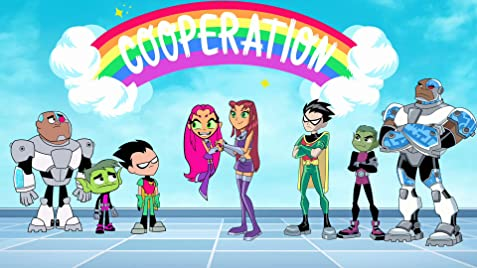 Here is a photo with the cartoon version from Teen Titans Go (on the left), and the original anime version from Teen Titans (on the right) getting to know each of their respective counterparts.