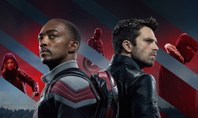 A poster of the famous Marvel Series streaming in Disney Plus, The Falcon and The Winter Soldier. Sam Wilson previously known as Falcon on the left and on the right Bucky Barnes previously known as the Winter Soldier.