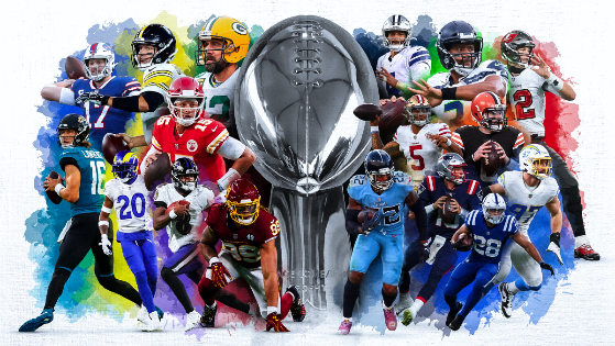 The big name NFL players centered around the Lombardi Trophy, a trophy won in the Super Bowl, the NFL's championship bout between the winner of the AFC and the winner of the NFC.