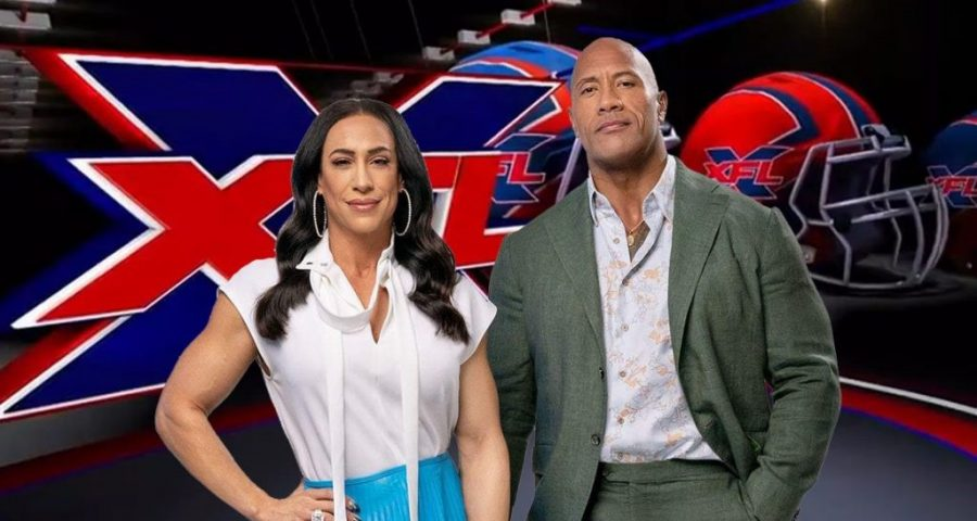 Dany Garcia (left) and The Rock (right) pose as the new owners of the once cancelled football league.